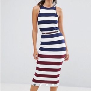 Ted Baker Striped Bodycon Dress